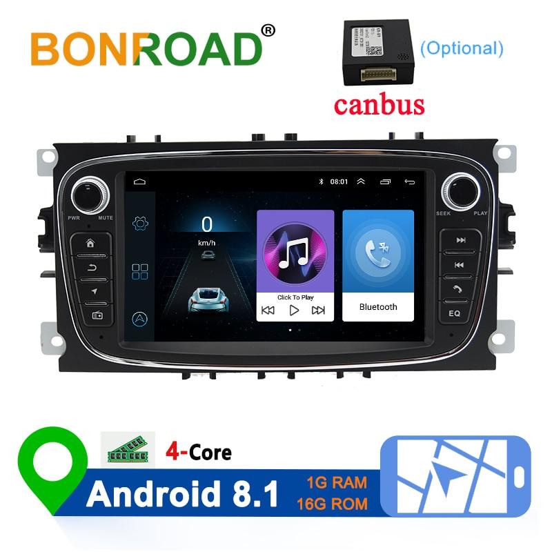 Bonroad 2 Din Android 8,1 Автомобильный мультимедийный плеер для Ford Focus 2 3 2004 2011 Mondeo Galaxy S max Kuga C max автомобильный радионавигатор