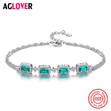 100% 925 Sterling Silver Green Zircon Bracelet Exquisite Woman's Luxury Party Jewelry Fashion Couple Girl Gift Free Shipping