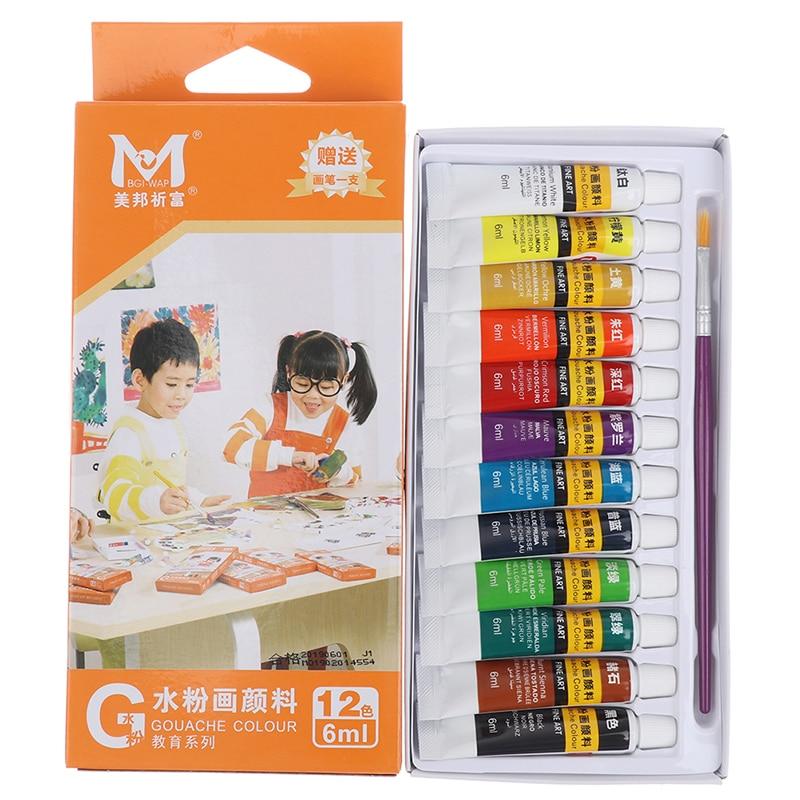 6 ML 12-color Professional Acrylic Paint Watercolor Set Painting Graffiti Supplies Gouache Paint