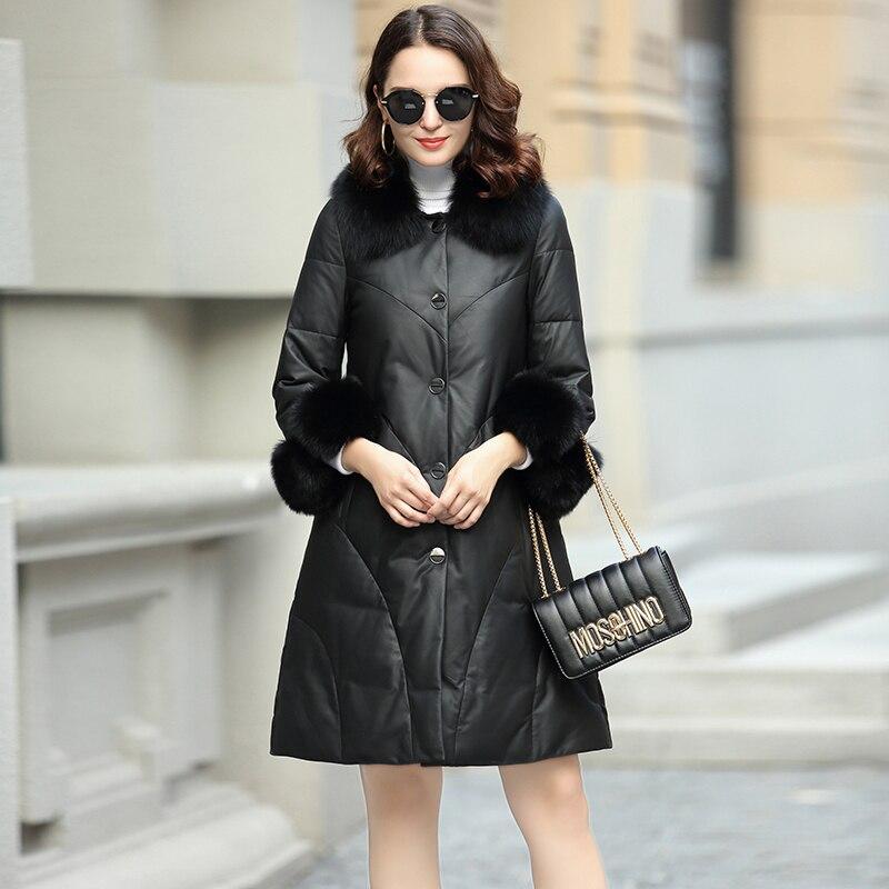 Jacket Leather Genuine Real Fox Fur Collar Women's Down Jacket 2020 Winter Jacket Women 100% Real Sheepskin Coat MY3785