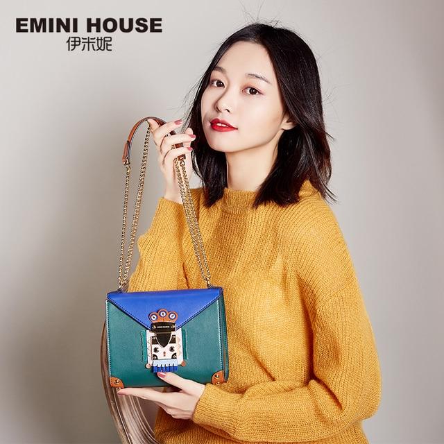 EMINI HOUSE Indian Style Padlock Chain Bag Niche Crossbody Bags For Women Shoulder Bag Split Leather Women Messenger Bags