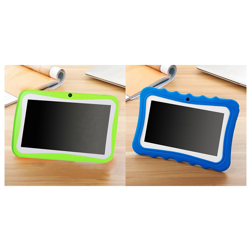 2Pc 7 Inch Kids Tablet Android Dual Camera WiFi Education Game Gift For Boys Girls ,Blue/Green,US Plug