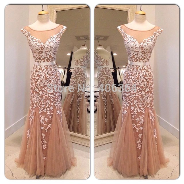 Real Photo Champagne Tulle Mermaid Evening Dress Sexy Open Back Floor Length Prom Dress With Appliques 2019 New Robe De Soiree
