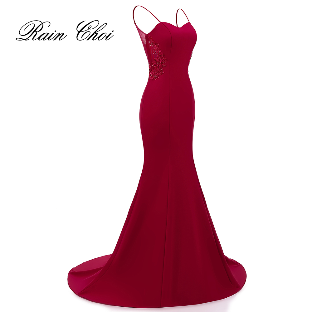 Real Photo Elegant Mermaid Prom Dresses Sexy Burgundy Formal Evening Dress With Appliques Long Party Gown 2020 Vestido De Festa