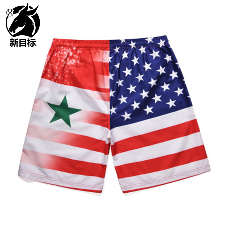 Foreign Trade Hot Sales Large Size Shorts  Summer National Flag Star Stripes Printed Beach Shorts Quick-Drying Trunks Men Fa
