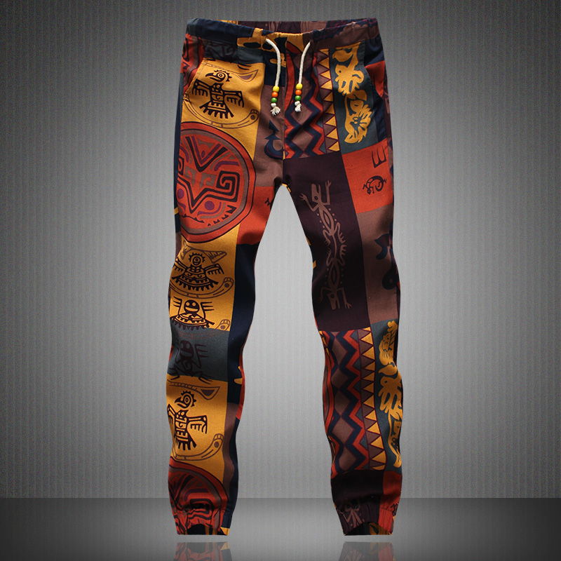 Left ROM 2019 New Summer Men Is Fine Cotton And Linen Printed Chart Leisure Pants / Male Slim Casual Trousers / Men Slacks