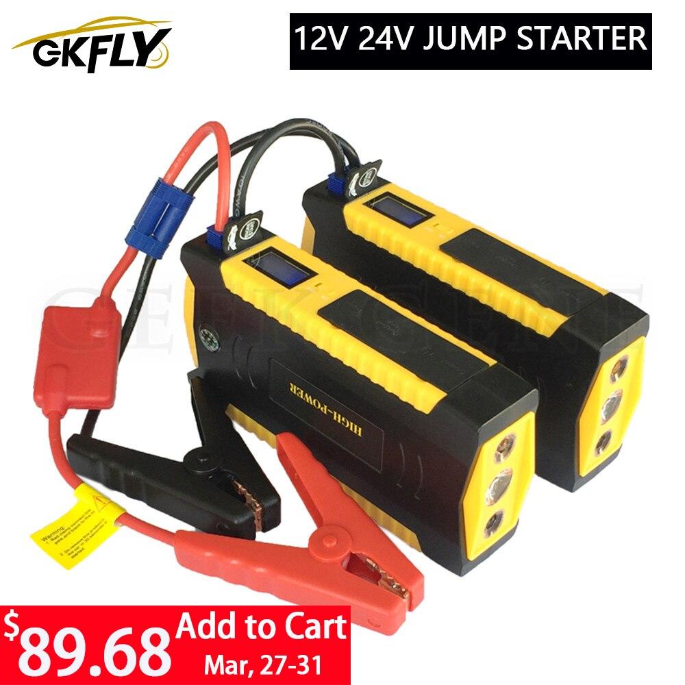 GKFLY Emergency 24V 12V Starting Device 600A Portable Car Jump Starter Power Bank Car Charger For Car Battery Booster Buster LED