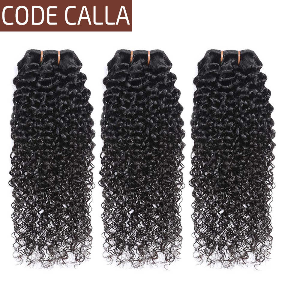 Code Calla Kinky Curly Bundles 100%  Remy Brazilian Human Hair Extension 3 Bundles Deals Can Make A Style Natural Black Color