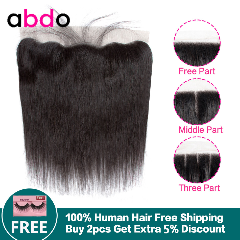 13x4 Straight Lace Frontal Closure Human Hair Closure Middle/Three/Free Part Swiss Lace Malaysian Non Remy Natural Hairline Abdo