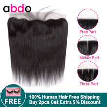 13x4 Straight Lace Frontal Closure Human Hair Closure Middle/Three/Free Part Swiss Lace Malaysian Remy Natural Hairline Abdo(China)