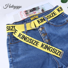 HATCYGGO Canvas Belts For Women Yellow Long Belt Personality Letter Strap Student Harajuku D Ring Double Buckle Jeans