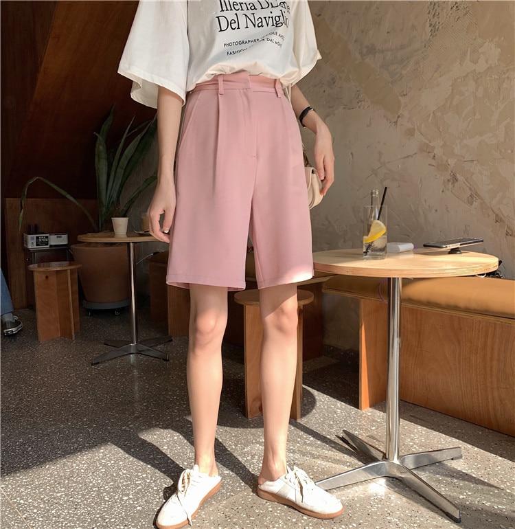 H0a1de603f1ea43d6ae2b539880cd7bcbH - Summer High Waist Wide Leg Loose Solid Shorts