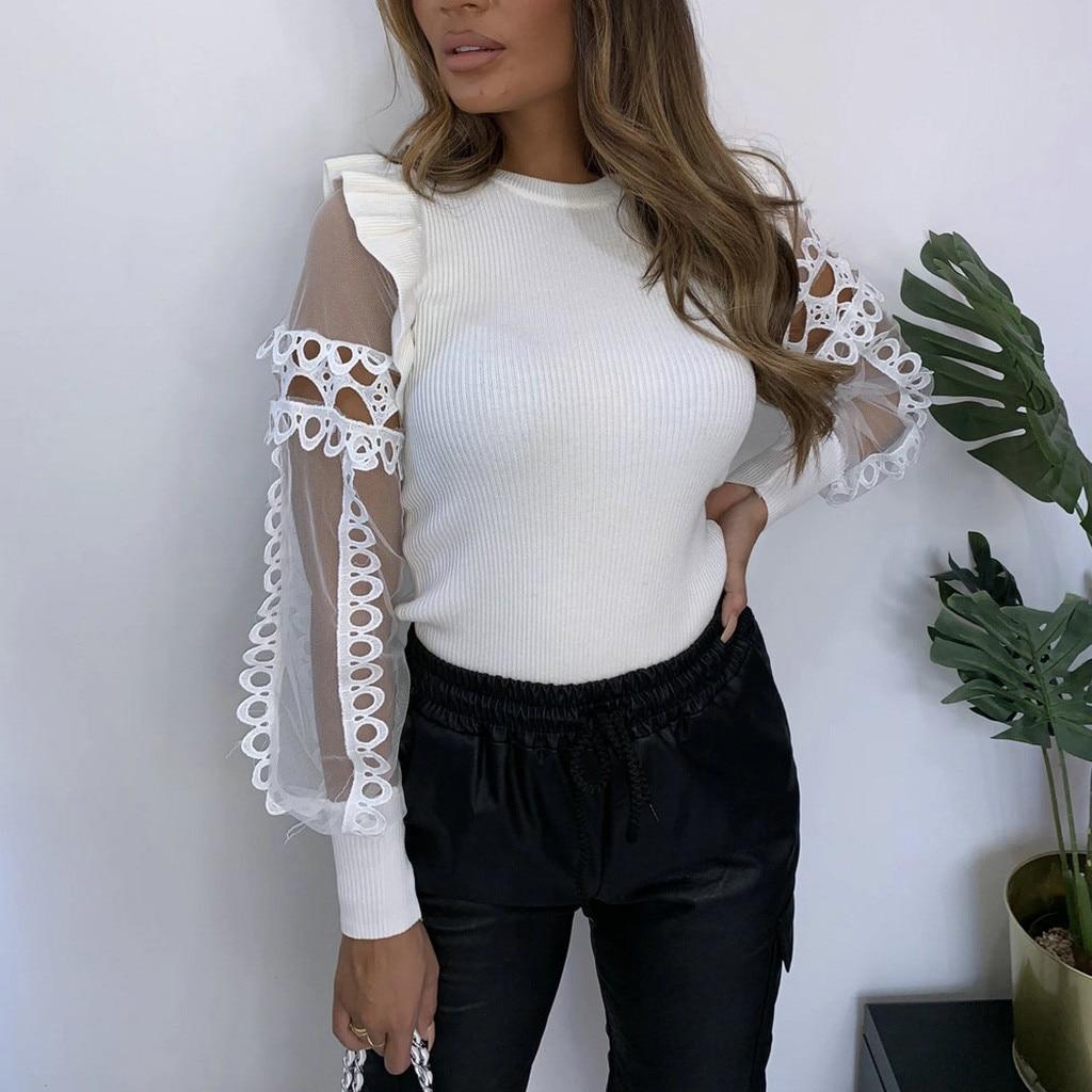 blouse women Casual O Neck Lace Long Sleeve Tops Blouse Shirt plus size vintage blouse blusas mujer de moda 2021 рубашка женская