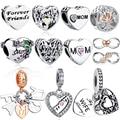 ELESHE Für Immer Freund Mom Schwester Familie Baumeln Charms 925 Sterling Silber Herz Perlen Fit Original Charme Armband DIY Schmuck
