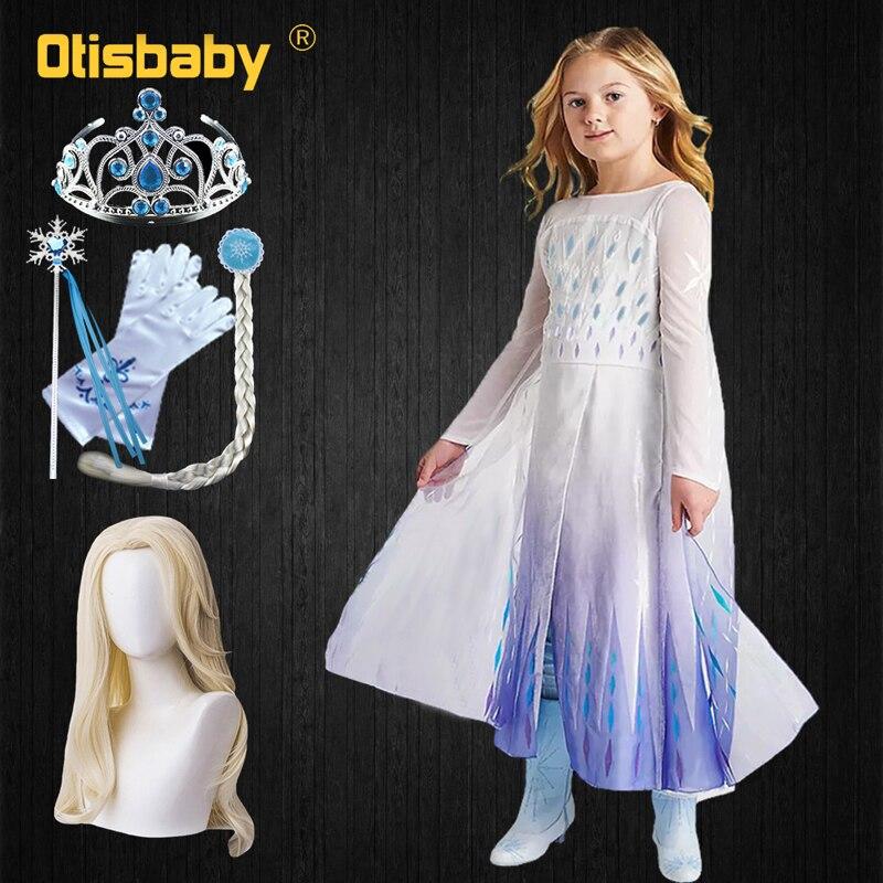 Snow Queen 2 Dress Elsa Dress For Girls Birthday Elza Dress Up Princess Anna Costume Halloween Cosplay Roupa Infantil