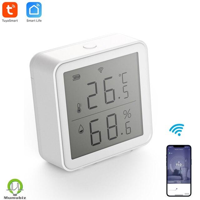 Sensor inteligente de temperatura y humedad con WiFi, dispositivo con pantalla LCD, funciona con el asistente de Google Alexa, Control de enlace con Tuya
