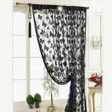 Window Curtain Door Window Curtain Room Divider Strip Tassel Butterfly Pattern Home bedroom decorative curtains door curtain(China)
