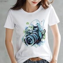 Camera Graphics Printing ladies Harajuku T-shirt summer fash