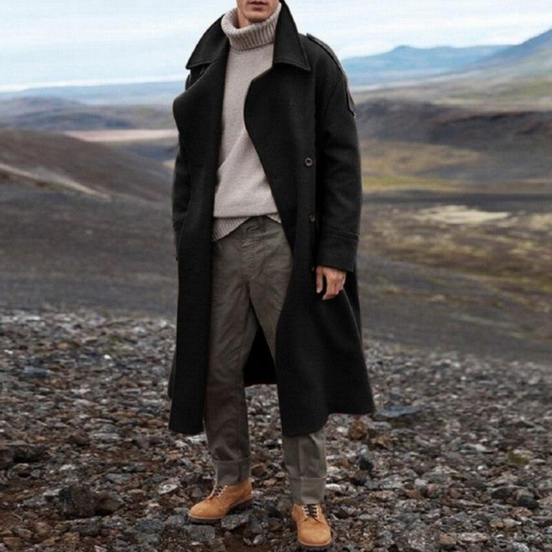 НОВЫЙ Тренч цвета хаки, мужской классический осенне зимний длинный Тренч, мужское повседневное Свободное длинное пальто, куртка, мужское пальто, уличная куртка|Плащи и тренчи| | АлиЭкспресс