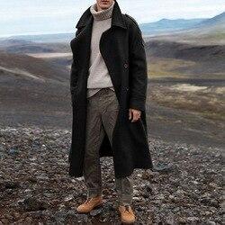 Nowy Khaki Trench męski klasyczny jesienno-zimowy długi płaszcz męski dorywczo luźny długi płaszcz kurtka mężczyzna płaszcz Streetwear płaszcz