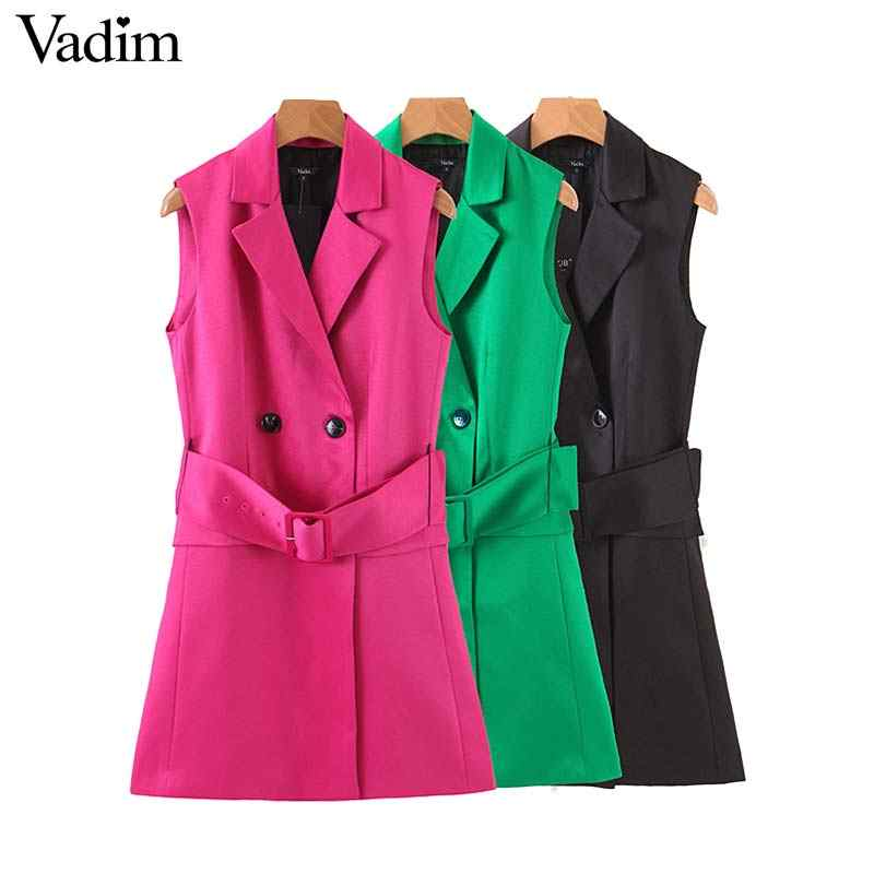 Vadim women elegant long vest double breast waist sashes solid coat sleeveless pockets decorate office wear outwear top MA032