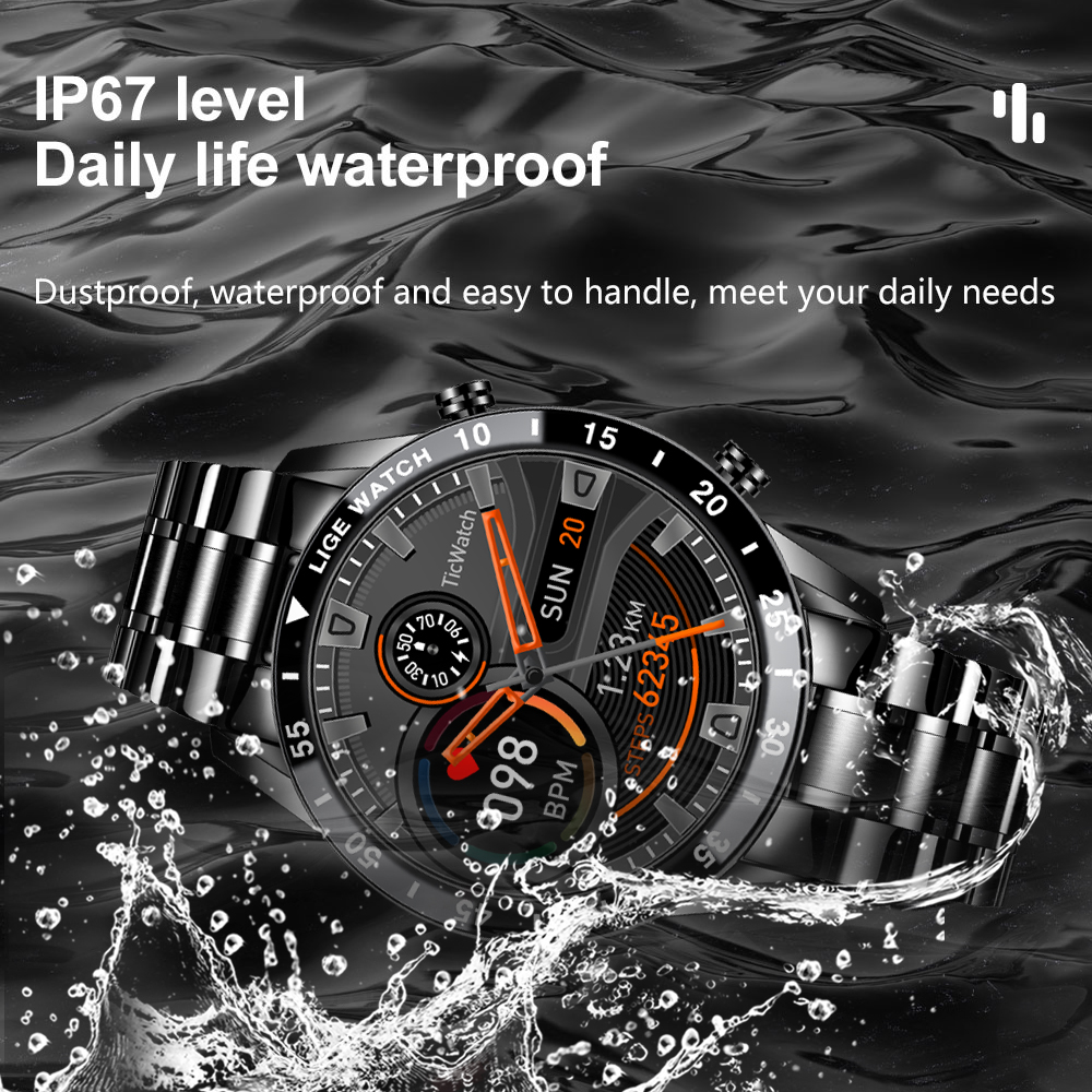 LIGE 2021 New Men Smart Watch Bluetooth Call Watch IP67 Waterproof Sports Fitness Watch For Android LIGE 2021 New Men Smart Watch Bluetooth Call Watch IP67 Waterproof Sports Fitness Watch For Android IOS Smart Watch 2021 + Box