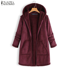 ZANZEA Winter Hoodies Plush Fluffy Coats Women Long Sleeve Warm Jackets Casual H