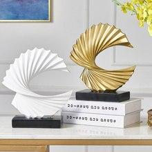 Arte moderna decoração abstrata resina dourada escultura decoração para casa sala de estar decoração escritório ornamentos presentes