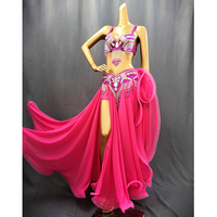 Hot Sale Professional Women belly dance costume wear for stage performance outfit 3piece suit Beaded carnival dancer costume set