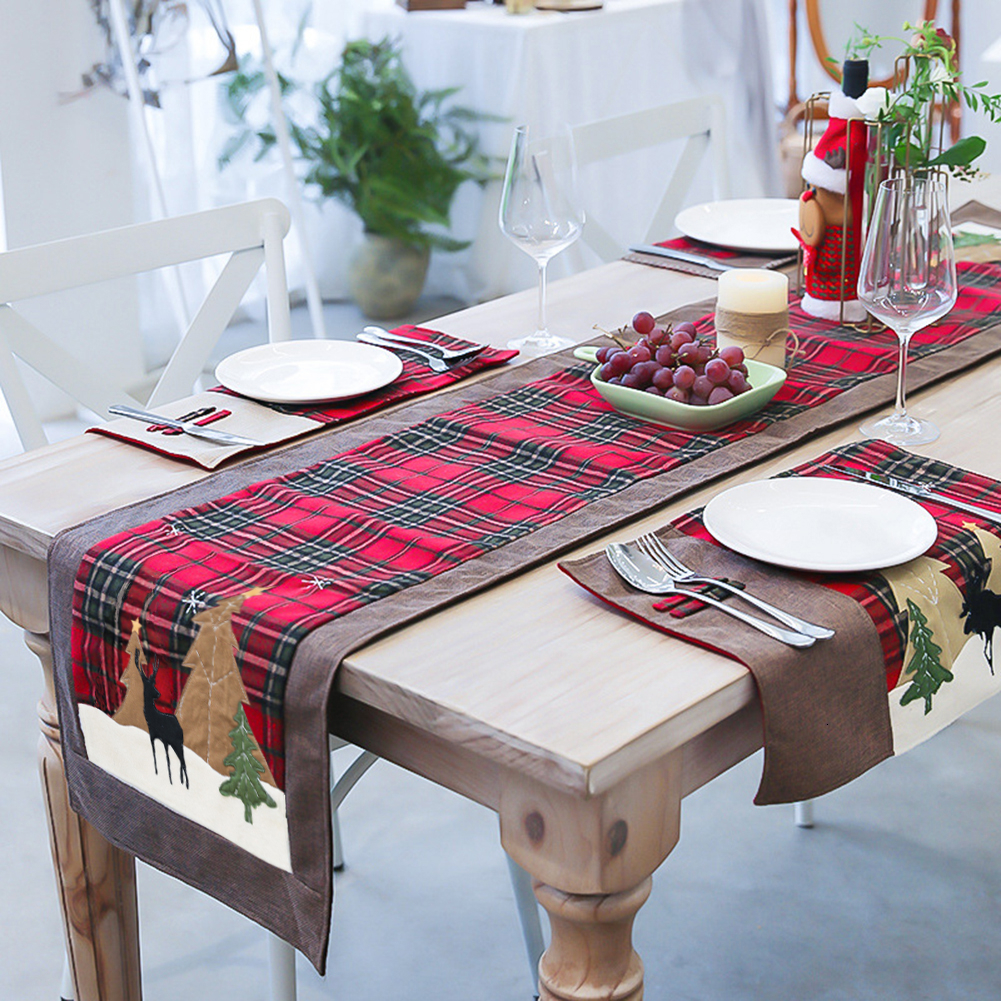 1 Set Christmas Table Runner Plaid Cloth Elk Small Tree Table Mat 180*35CM Insulation Mat New Year Decorations Christmas Gift