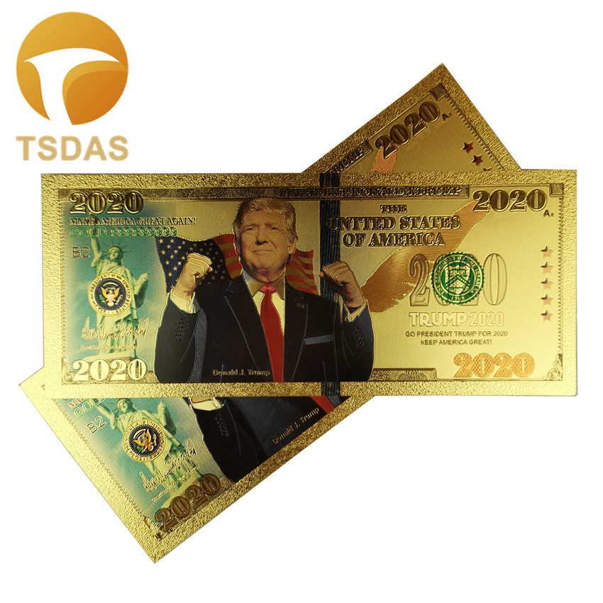 10pcs/lot 999.9 Gold Banknote Donald Trump 2020 President Gold Plated Banknote Fake Money For Christmas Gifts