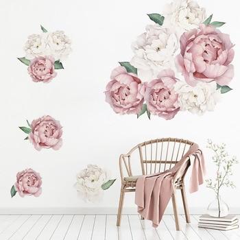 Pegatina de pared de peonía de PVC, adhesivo de hojas DIY extraíble, adhesivo artístico de pared, pegatina para decoración del hogar para dormitorio y sala de estar