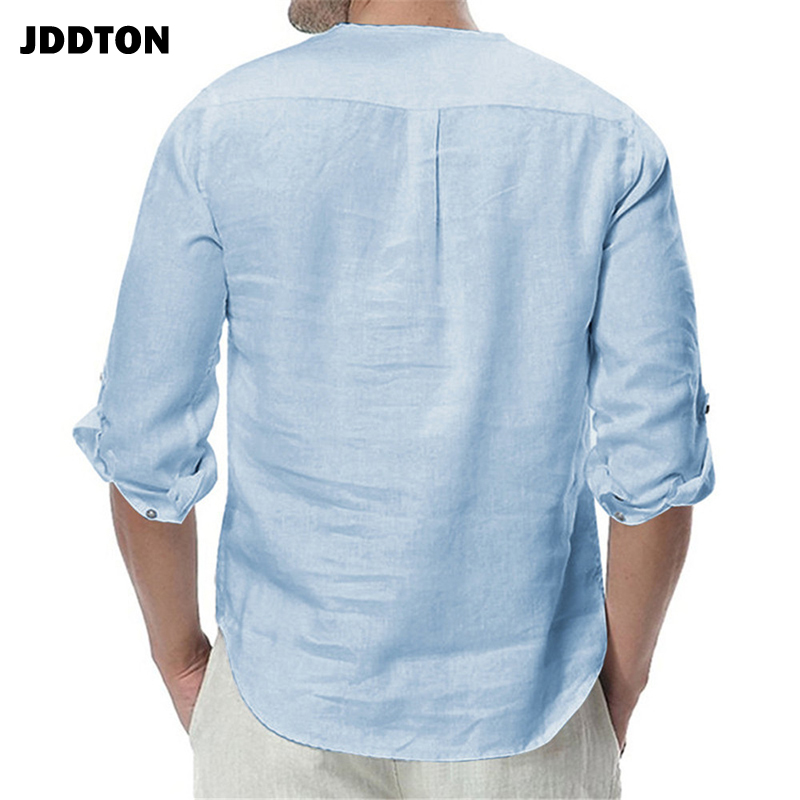 JDDTON New Men's Long Sleeve Shirts Cotton Linen Casual Breathable Comfort Shirt Fashion Style Solid Male Loose Streetwear JE065 2