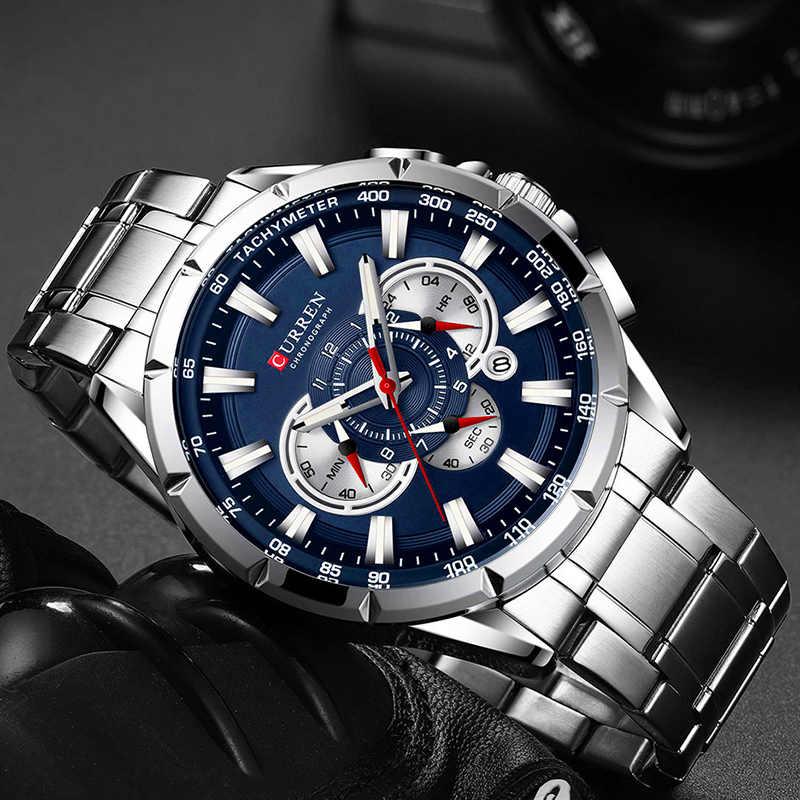 CURREN Männer Uhren Top Luxus Marke Sport Uhr Blau Chronograph Quarz Mann Armbanduhren Edelstahl Männliche Uhr Reloj Hombre