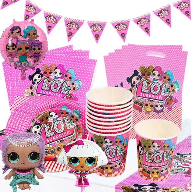Lol bonecas para decoração de festa de aniversário, suprimentos para decoração de festa de aniversário, copo, colher, bolo, brinquedo para meninas, presentes