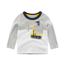 Boys T Shirt Tops Long-Sleeve  Toddler Baby Girls Kids Children Cotton Fashion Autumn Spring Print Car for 2 3 4 5 6 7 8 Years boys t shirts for clothes autumn turndown collar pullover children long sleeve spring school uniform t shirt 4 6 8 10 12 years