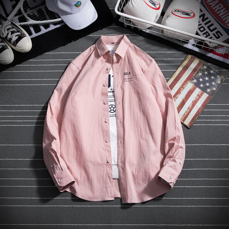 Fashion Color Male Shirt Casual Pattern Mens Shirts Autumn Blue White Green Pink Men Long Sleeve Shirt in Casual Shirts from Men 39 s Clothing