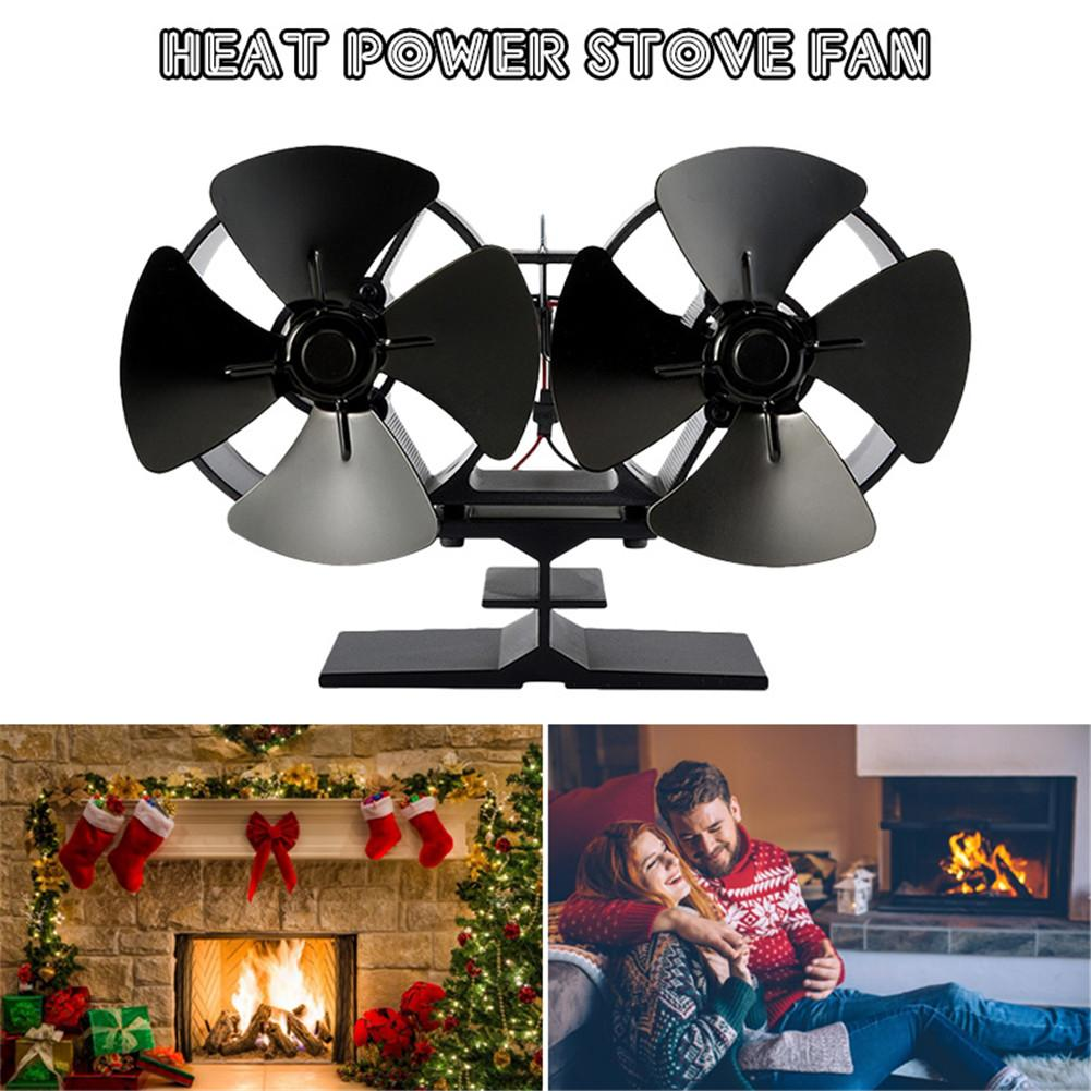 Efficient Double Black Fireplace Fan Heat Powered Stove Fan Komin Log Wood Burner/FirPowered Stove Fan Quiet Heat Distribution