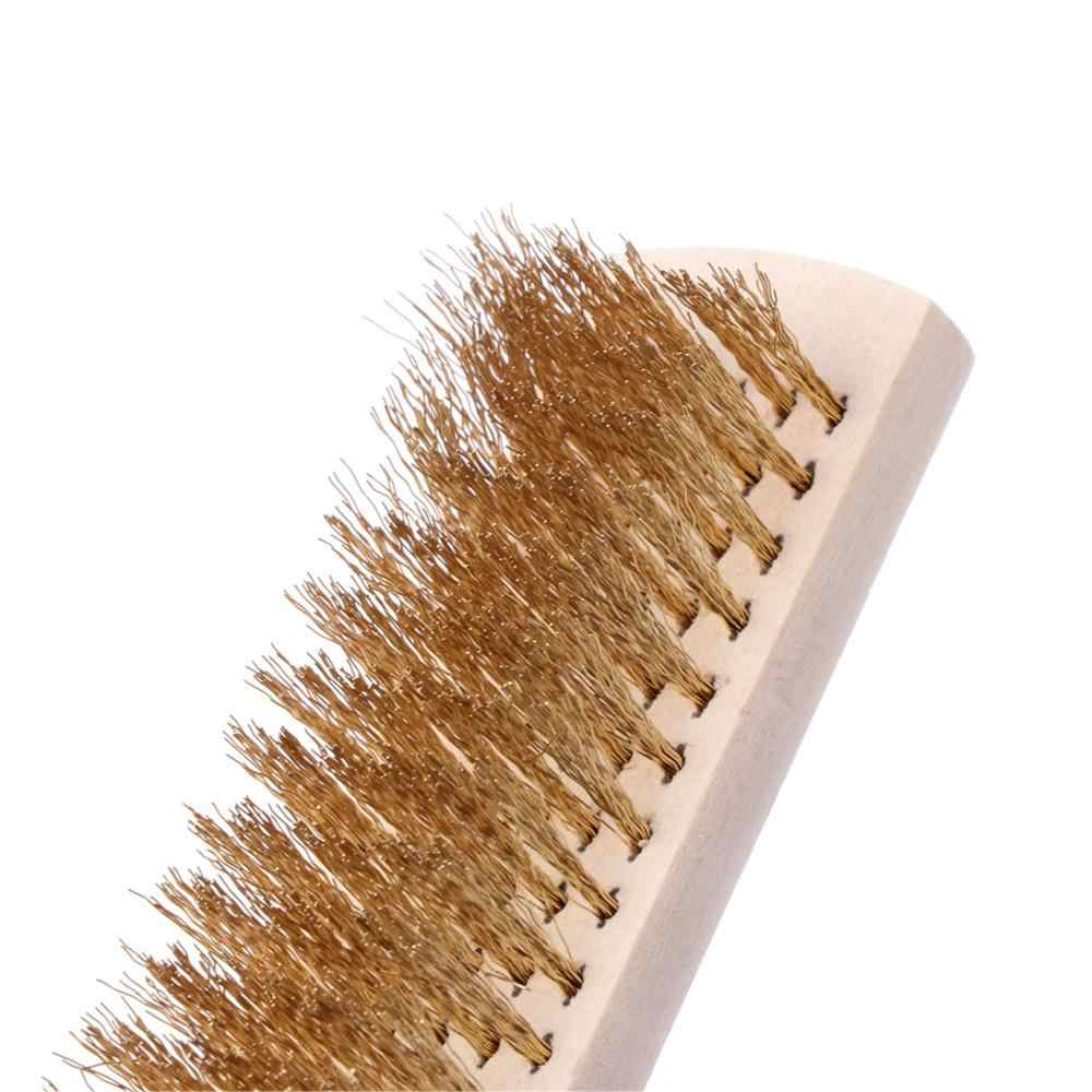 銅線真鍮 Briste 木製ハンドルワイヤー傷ブラシ 208 ミリメートル金属洗浄
