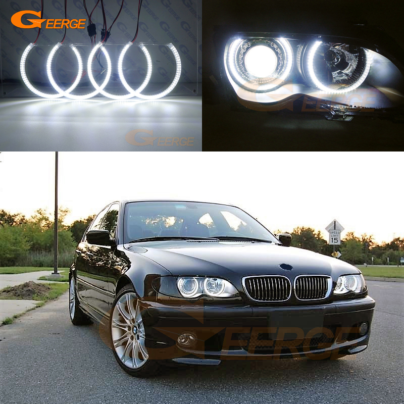 For BMW 3 Series E46 Sedan touring Wagon 1998-2005 Excellent Ultra bright illumination smd led angel eyes DRL halo rings image