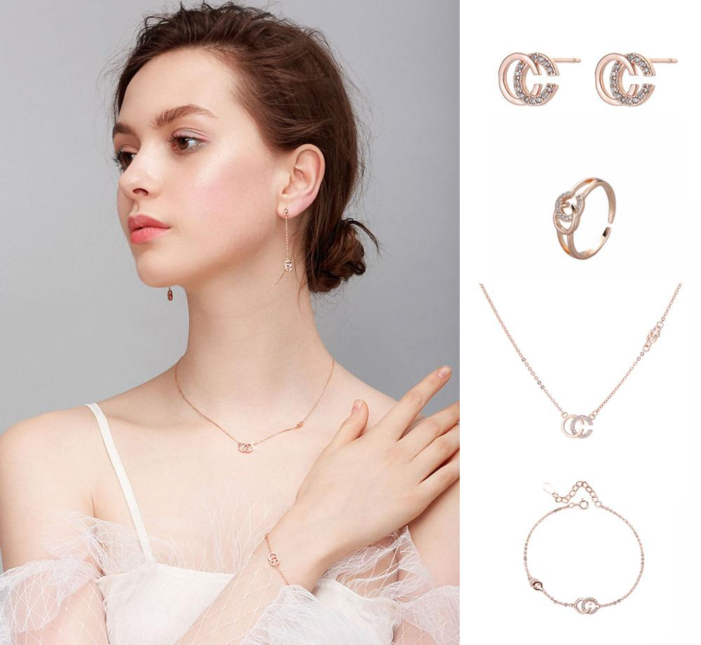 925 Sterling Silver Jewelry Set Initial Letter CC Necklace+Earrings+Bracelet+Ring Jewelry Set For Women Bridal Wedding Gifts