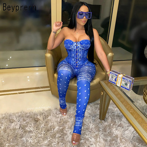 Beyprern Chic Corset Legging Set Two-Piece Suits Casual Womens Print Padded Crop Top And Matching Set Active Wear Club Outfits