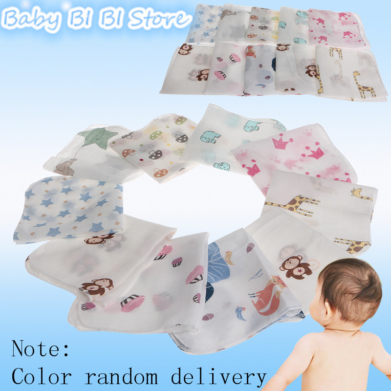 10pcs Baby Infant Towel 28*28cm Muslin Towel Handkerchiefs Two Layers Wipe Towel
