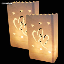 20Pcs/lot Double Heart Tea light Holder Luminaria Paper Lant