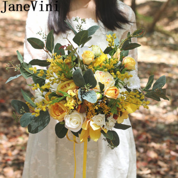 JaneVini Vintage Yellow Wedding Bouquet Holder Flowers Bridal Bouquets Artificial Silk Roses for Bridesmaid Wedding Accessories