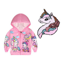 Spring Jacket for Girls Coats Hooded Unicorn Pattern Baby Girls Clothes Outerwear Kids Windbreaker Autumn Girls Jackets cootelili 80 130cm fashion printing windbreaker kids clothes spring baby jacket for boys autumn girls cool outerwear coats