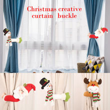 Christmas Creative Curtain Buckle Xmas Window Tie Rings Buckles Decoration Santa Claus Snowman Elk