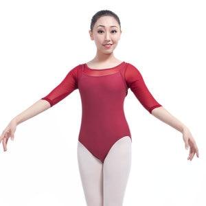Image 3 - Yetişkin jimnastik Leotard siyah örgü dans 5 renk üç çeyrek kollu bale s kadınlar için Justaucorps