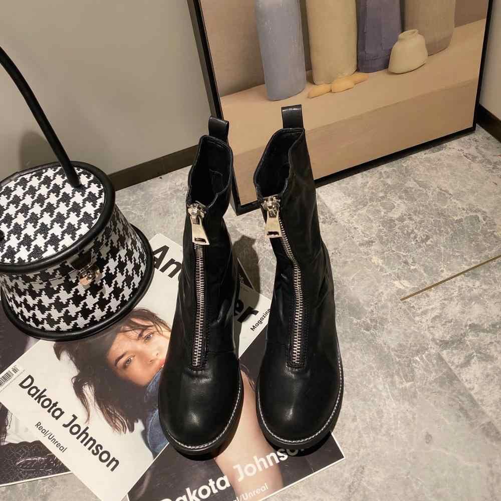 MIULAMIULA Marke Designer 2019 Winter Neue Mode Luxus Echtem Leder Schwarz High Heels Kurze Martin Stiefel Zipper Frauen Schuh