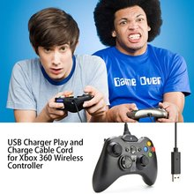 цена на USB Charger Play and Charge Cable Cord for Xbox 360 Wireless Controller Charge Cable Charge line
